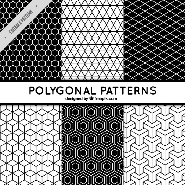 Six black and white patterns with polygonal shapes