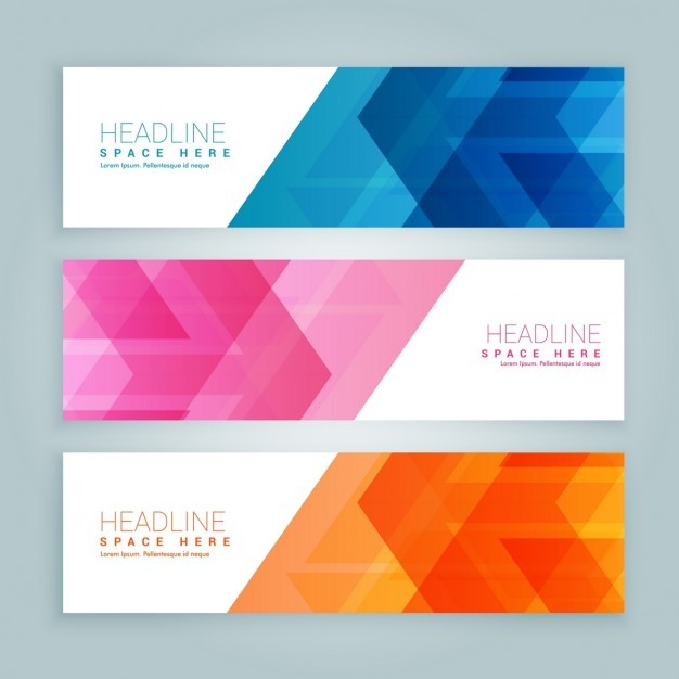 Pack of colored banners with abstract design