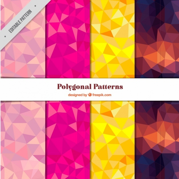 Pack of four colorful patterns with polygons