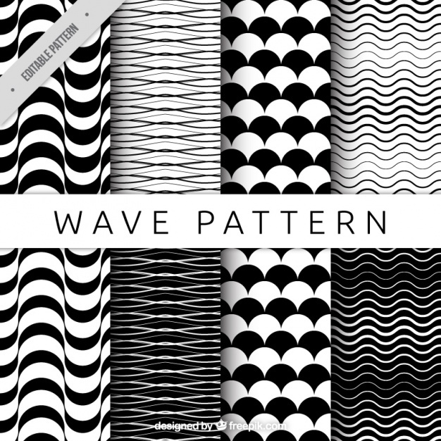 Black and white patterns with wavy shapes