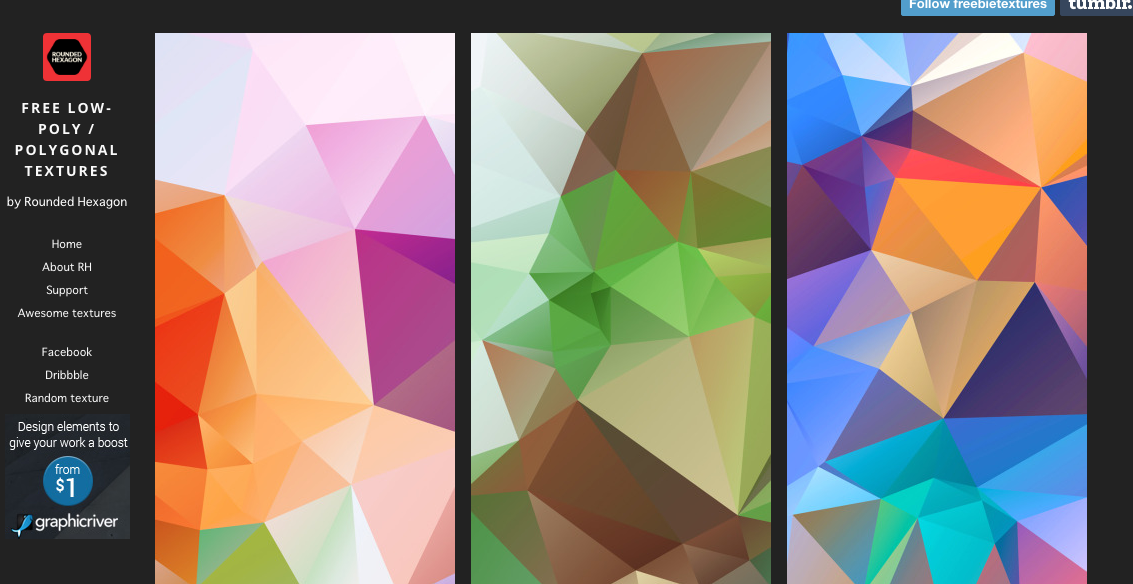 Free low-poly / polygonal textures website