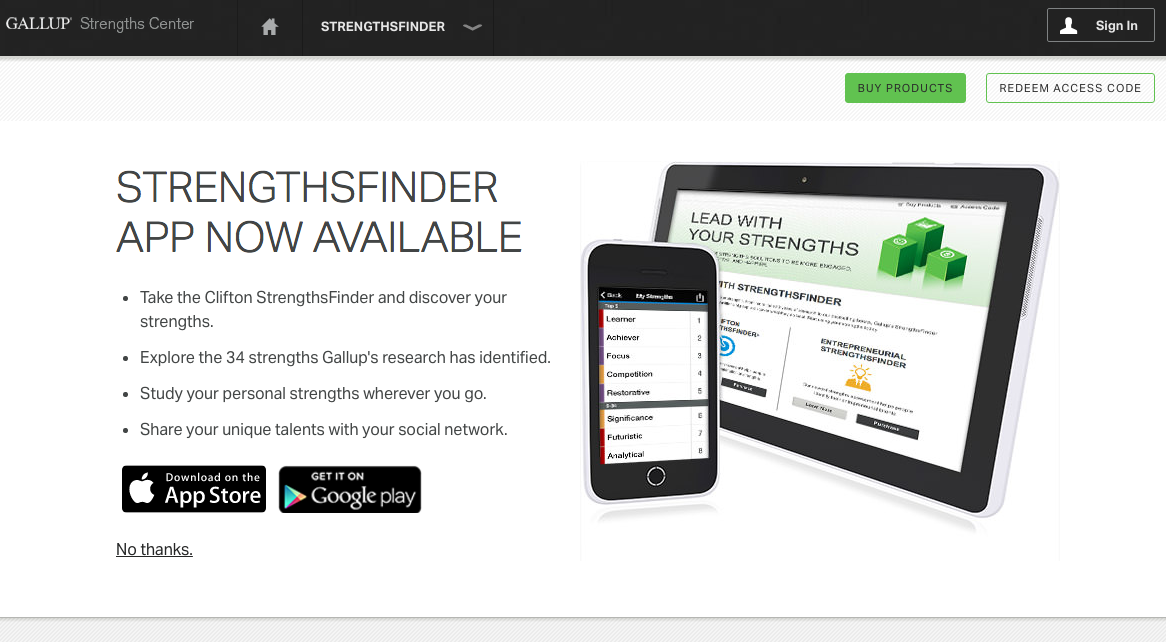 STRENGTHSFINDER APP NOW AVAILABLE