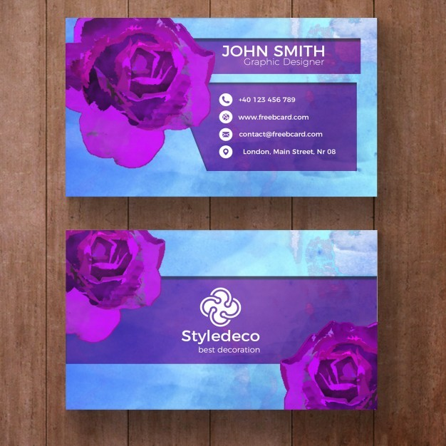 Business card with purple roses