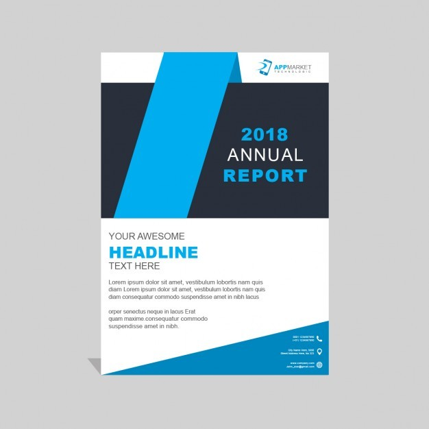Modern blue business brochure with geometric shapes