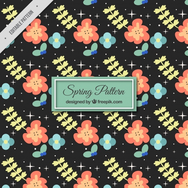 Dark spring pattern with decorative flowers