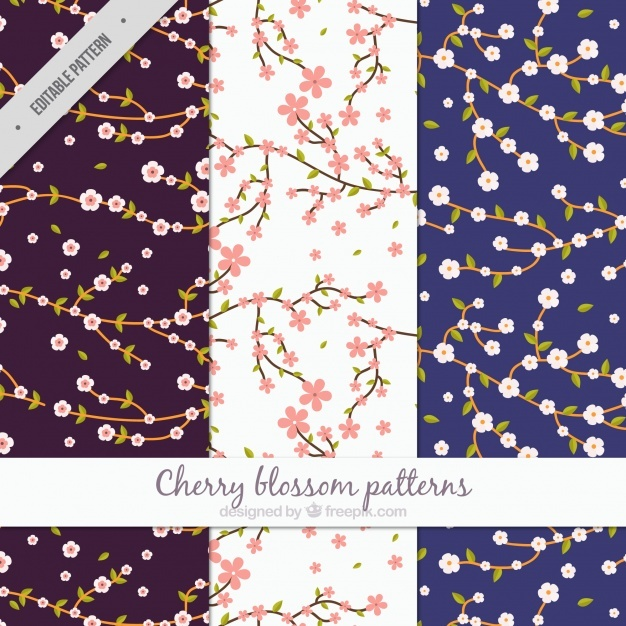 Patterns of branches with cherry blossoms