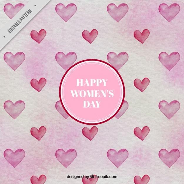 Woman's watercolor hearts pattern
