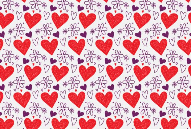 Handrawn hearts and petals free seamless vector pattern