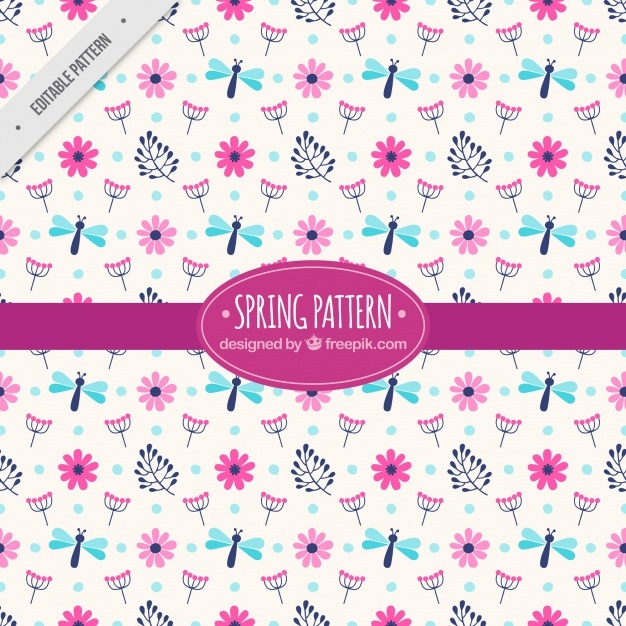 Spring pattern with flowers and dragonflies