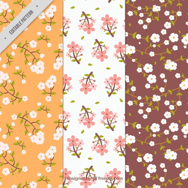 Various patterns of cherry blossoms in vintage style