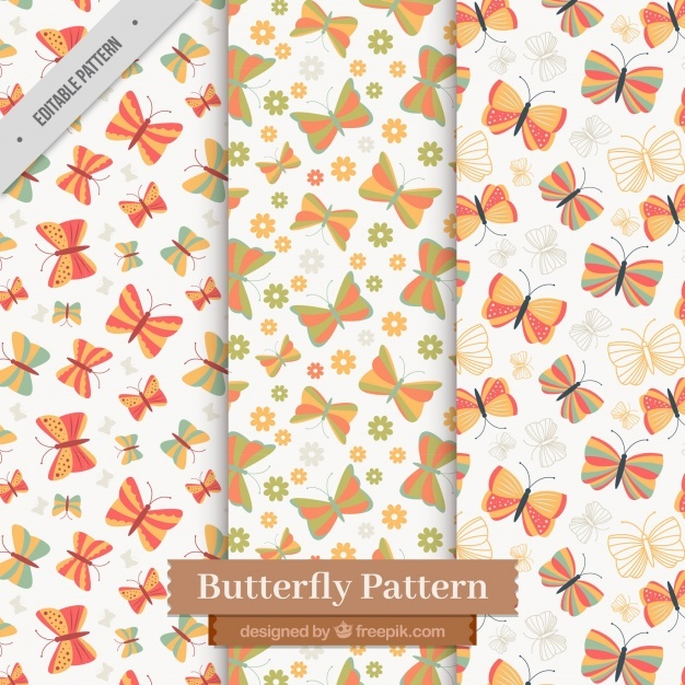Cute pack of flat butterfly patterns