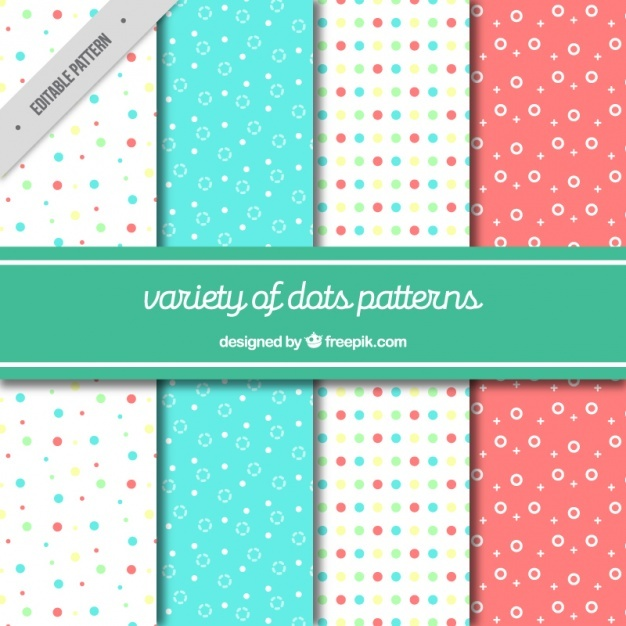 Collection of four dotted patterns in pastel colors