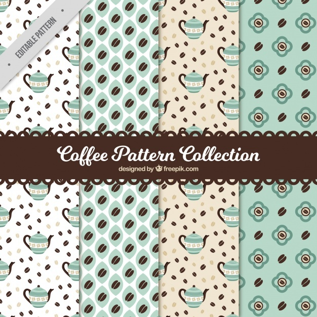Vintage collection of coffee patterns