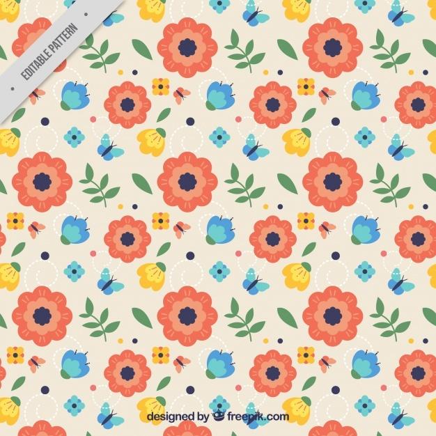 Spring vintage flower pattern