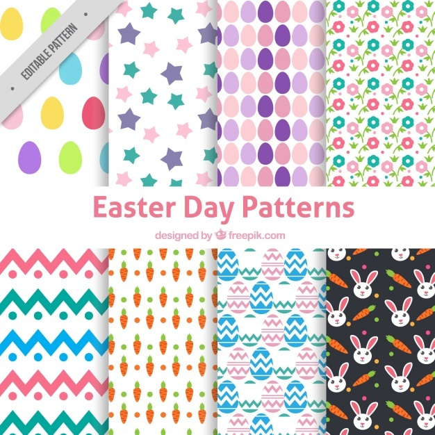 Collection of eight easter patterns in flat design