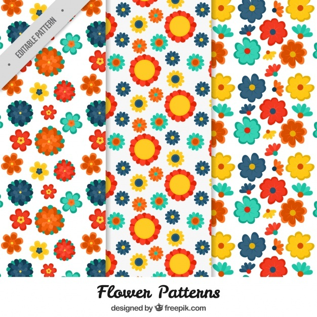 Set of pretty patterns with colorful flowers