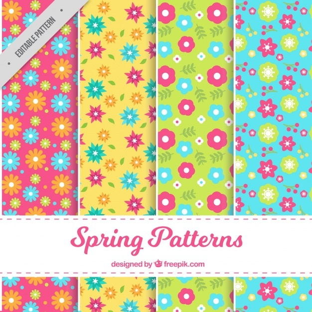 Set of four spring patterns with beautiful flowers in flat design