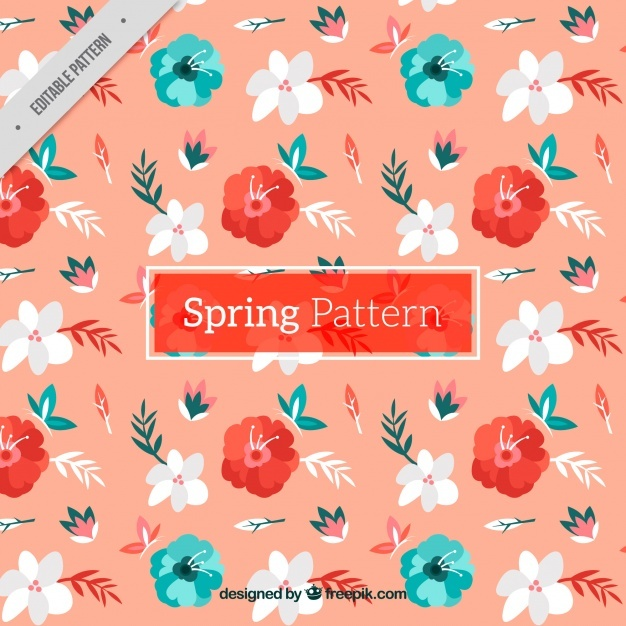 Cute pattern with decorative flowers and butterflies