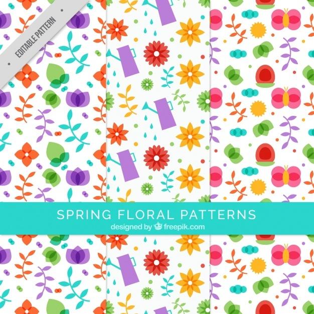 Several floral patterns in flat design