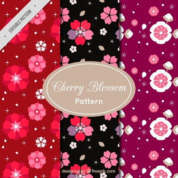Set of decorative flower patterns