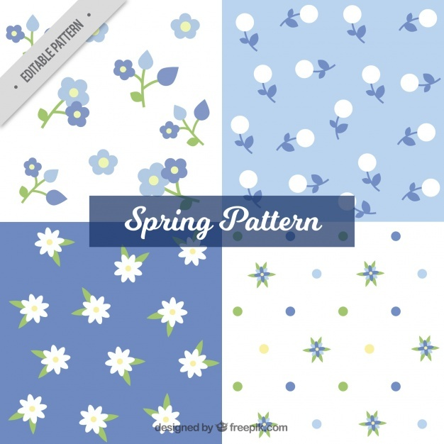 Set of four blue and white patterns for spring