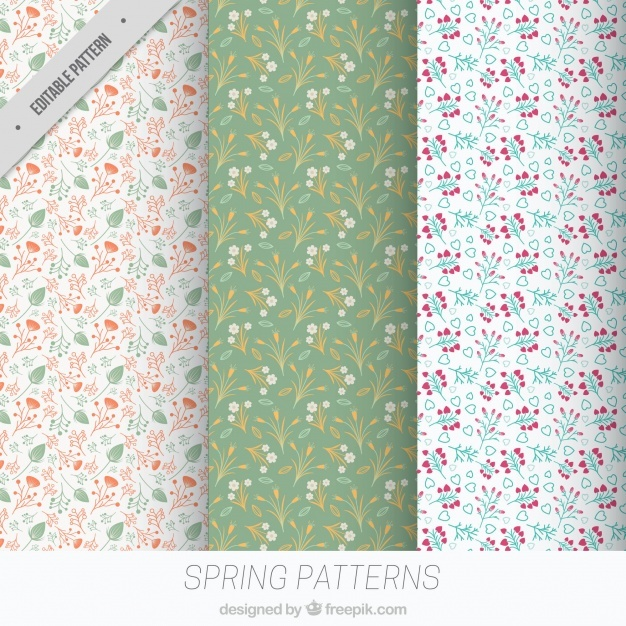 Set of three floral patterns for spring