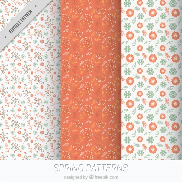 Fantastic spring patterns with floral decoration