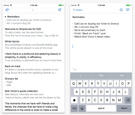Simplenote(iOS/Android)