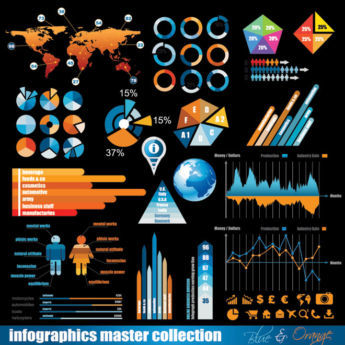 Blue and Orange infographics pie charts and design elements Vector