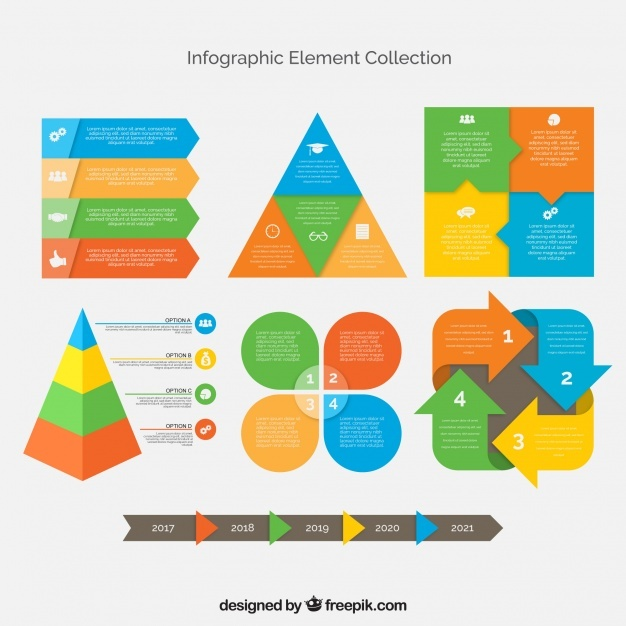 Collection of decorative flat elements for infographics