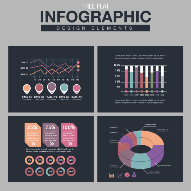 Free Flat Infographic Design Elements