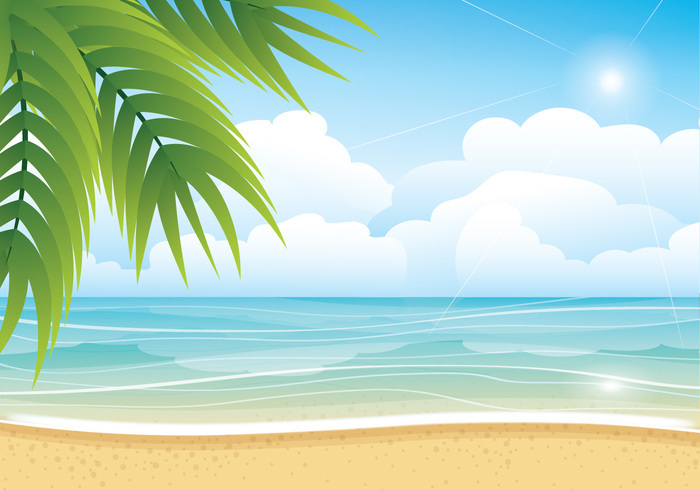 Tropical Summer Beach Vector Background