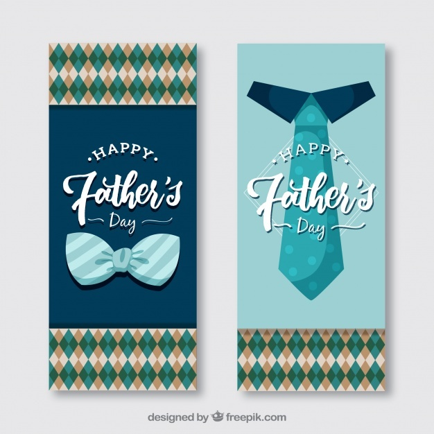 Retro father's day banners with bow tie and tie