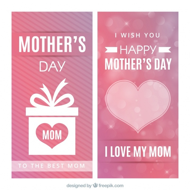 Mother's day banners with heart and gift