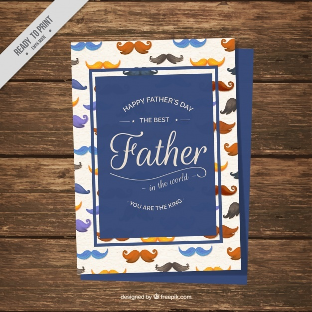 Father's day card with watercolor mustaches