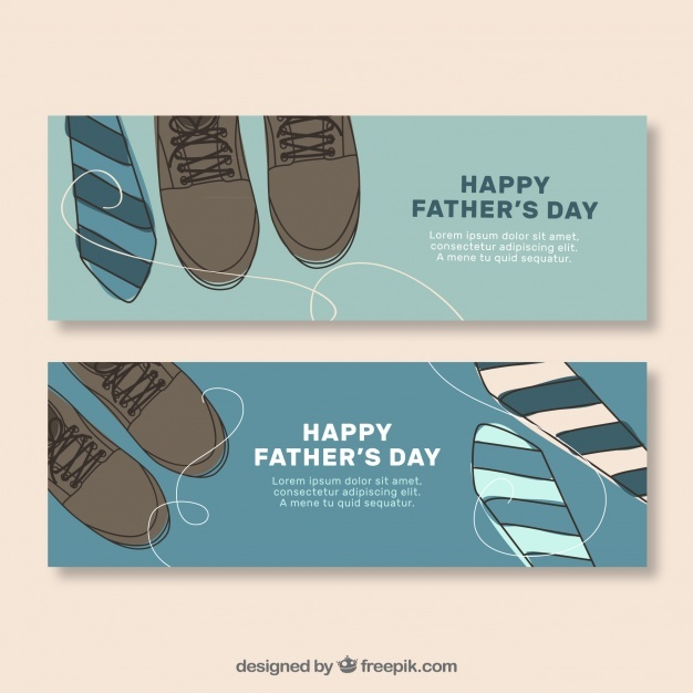 Vintage father day banners with shoes and ties