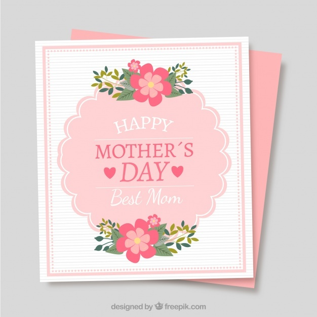 Cute mother's day card with fantastic flowers