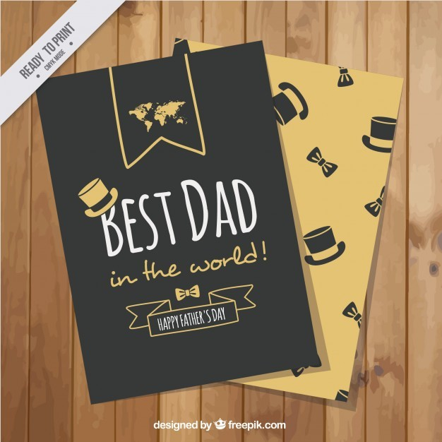 Black and orange greeting card for father's day