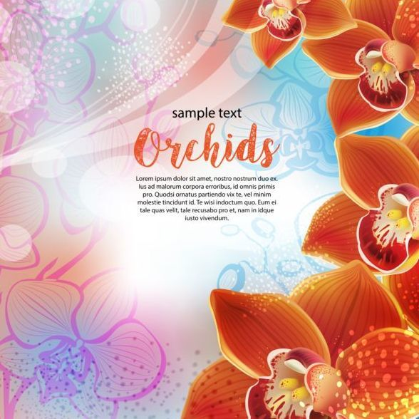 Free EPS file Beautiful orchids flowers vector backgrounds 03 download
