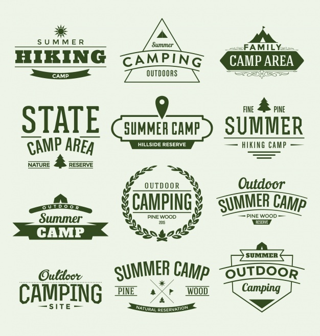 Summer camp labels collection