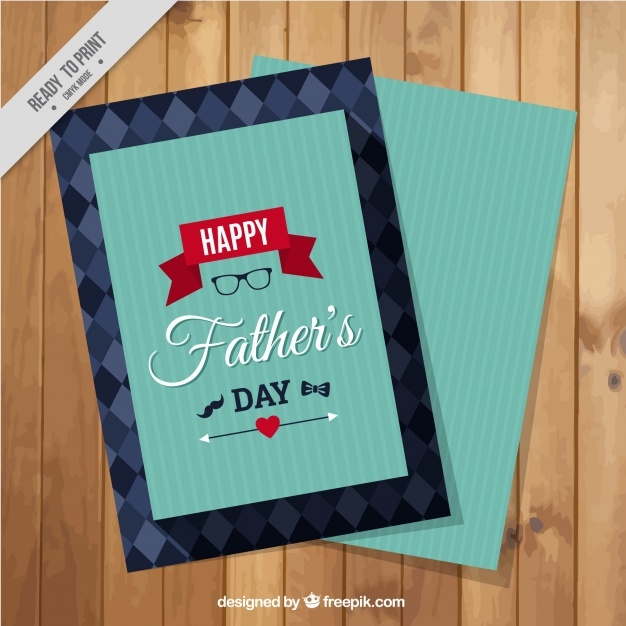 Striped greeting card with red details for father's day