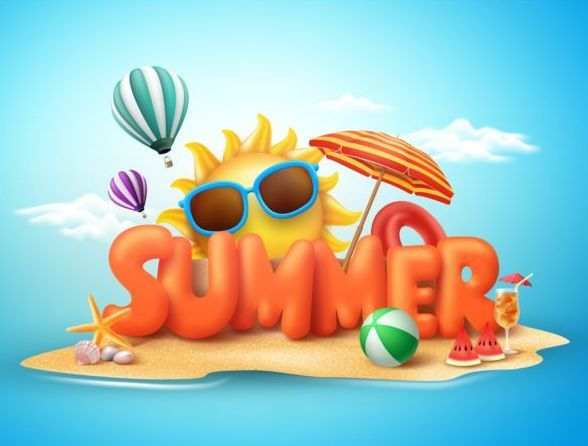 Free EPS file Cartoon summer template cute vectors 01 download