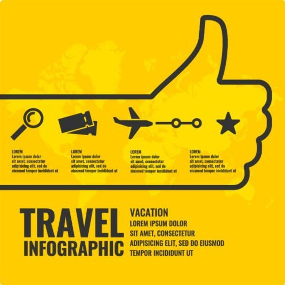 Free EPS file Yellow travel infographic vectors download