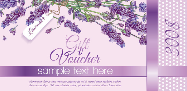 Free EPS file Purple flower with gift voucher vector template download