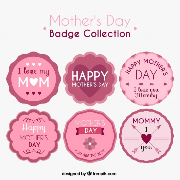 Selection of six mother's day badges in pink tones