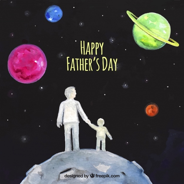Watercolor background of the father with his son in space