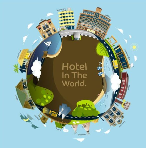 Free EPS file hotel in hte world vector materialhotel in hte world vector material download