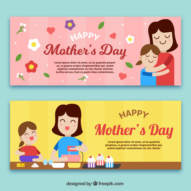 Great mother's day banners of woman with her daughter
