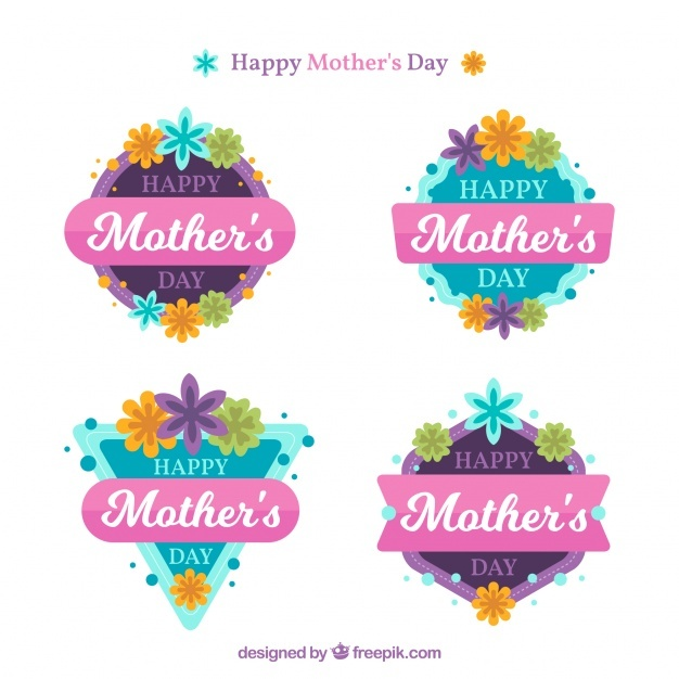 Pack of four flat badges for mother's day