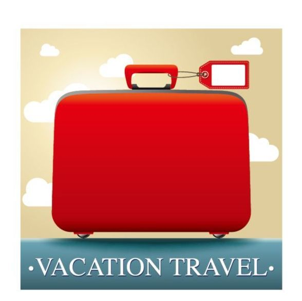 Free EPS file Red suitcase with vacation travel vector download